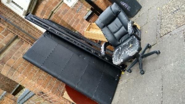 bedframe and chair on pavement-117 Hinckley Rd, Leicester LE3 0TF, UK