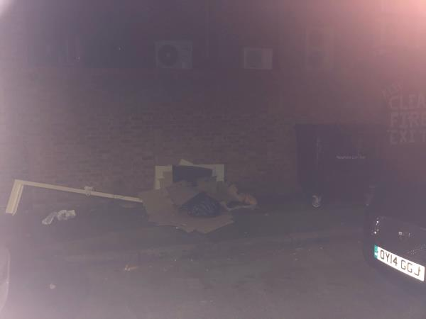 I reported this rubbish on Monday 14.9.20 and checked yesterday evening 15.9.20 and it's still there. Somebody else photographed the rubbish on Saturday 12.9.20. If it is cleared today that means it has been there for 4 days!  What is the expectation of reported rubbish being cleared?  image 2-14 Castle Street, East Ham, E13 9GA