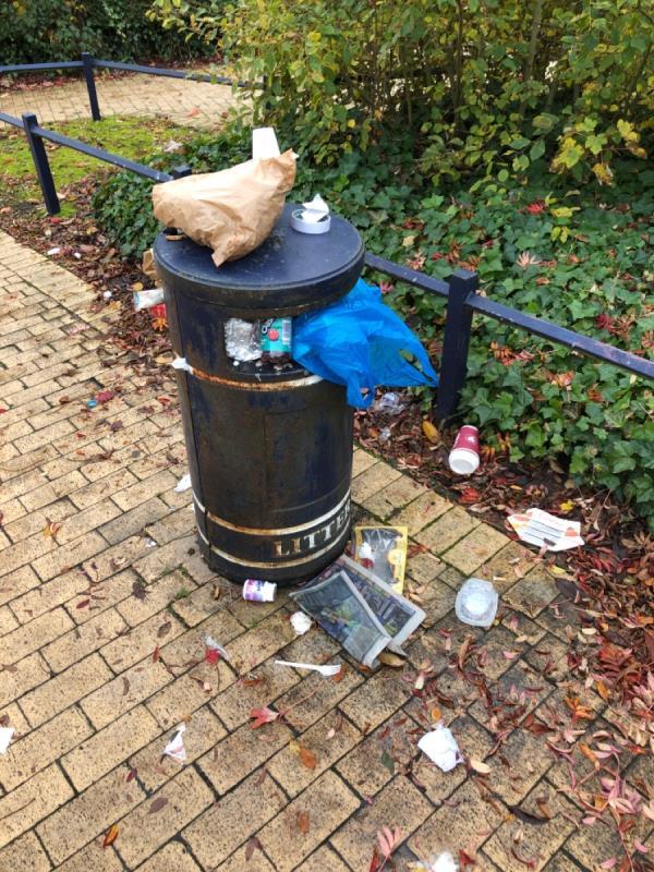 Bin is overflowing needs cleaning up -95 Church Street, Wolverhampton, WV14 0BJ