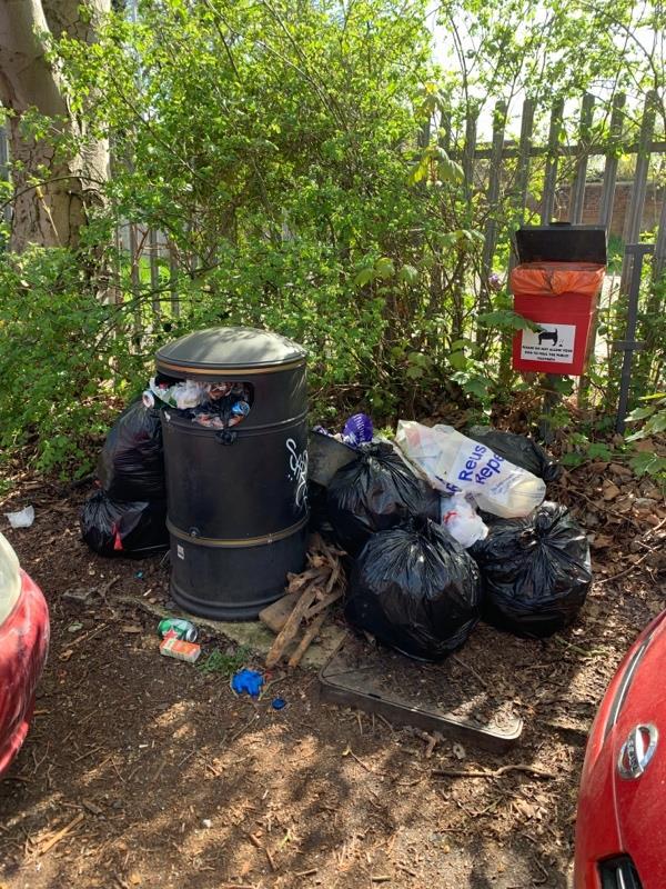 Flytipped rubbish by overflowing bin-346 Kennet Side, Reading, RG1 3EA