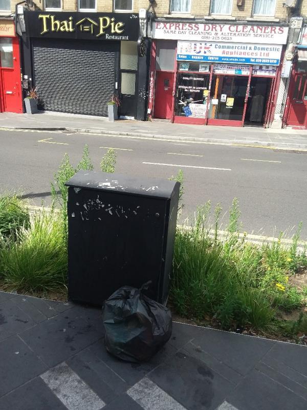Litter bag left at this location-129b The Grove, London, E15 1EN