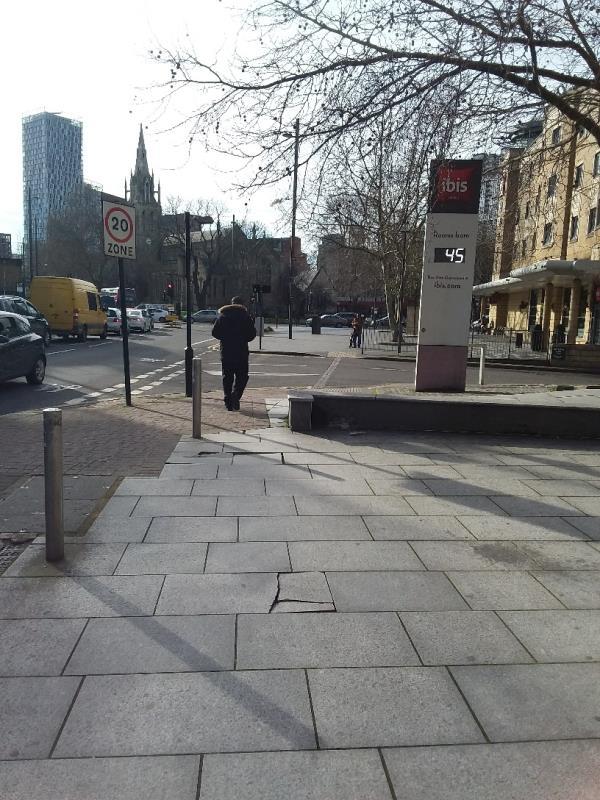 broken pavement at this location image 1-21-25 Romford Road, London, E15 4LJ