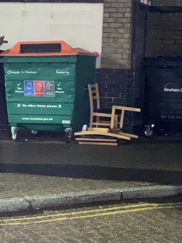 Chair and broken chair dumped by the North Lodge bins-North Lodge, 17 Wesley Avenue, London, E16 1TD