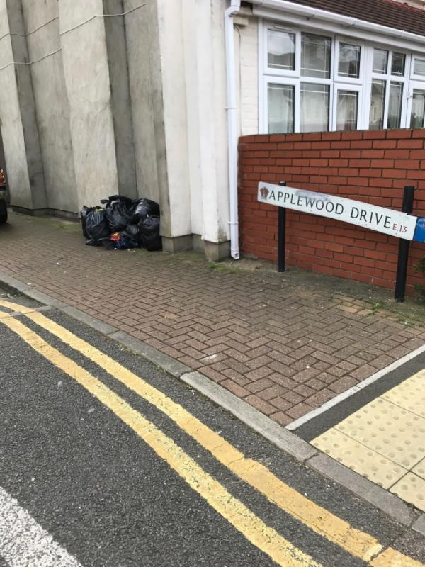 Black sacks dumped-75 Cumberland Road, London, E13 8LH