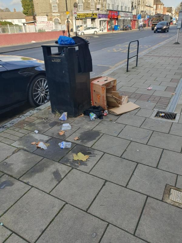 boxes next to bin-274a-274b Barking Road, London, E13 8HR