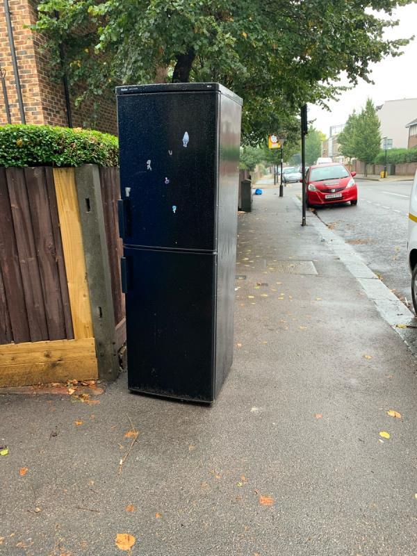Fridge dumped outside near St Saviour's Church on Macdonald Road, blocking the pavement for wheelchairs/buggies.-21 MacDonald Rd, London E7 0HE, UK