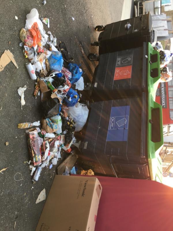 Food rubbish in split bags-123 Woodgrange Road, London, E7 0DH