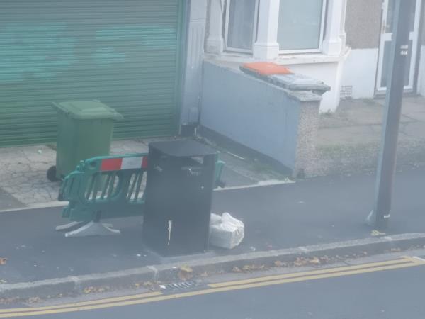 bag dumped by neighbours-55b Frinton Road, London, E6 3EZ