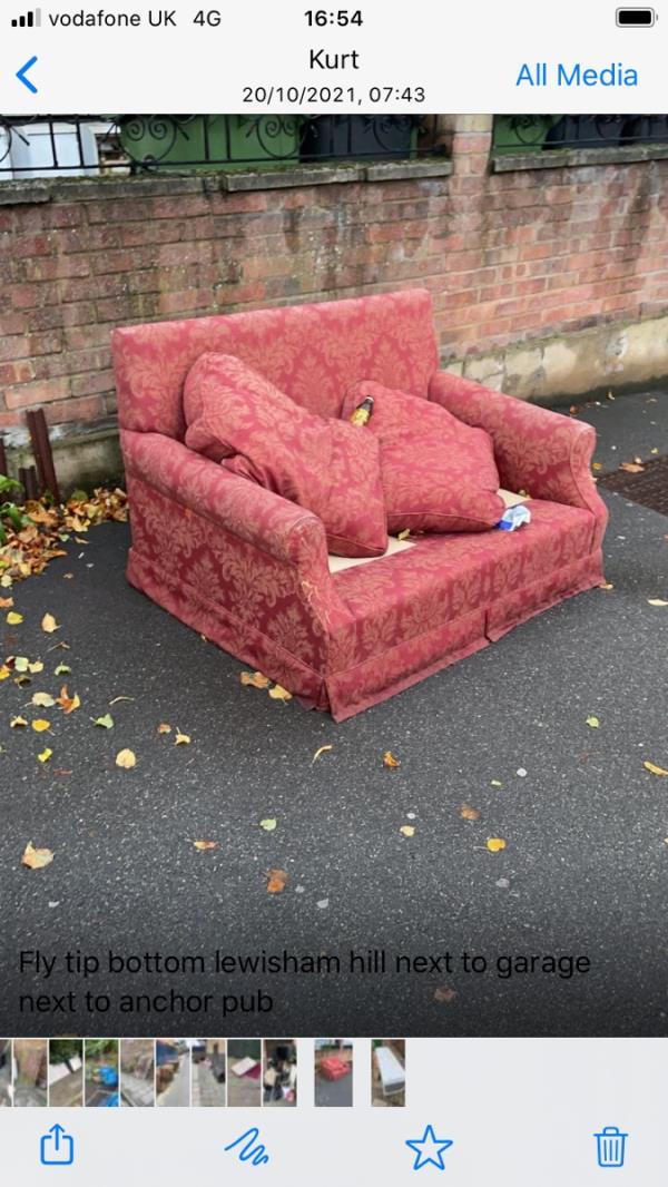 Sofa - bottom of Lewisham hill / Lewisham rd at Anchor Pub end-169-177 Lewisham Road, Lewisham, SE13 7PY