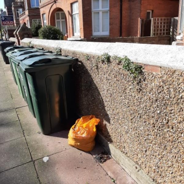 SEESL - 22/10/19. FLY-TIP metal in carrier bag outside on pavement of 9 Hartfield Road. Please remove.-9 Hartfield Road, Eastbourne, BN21 2AP