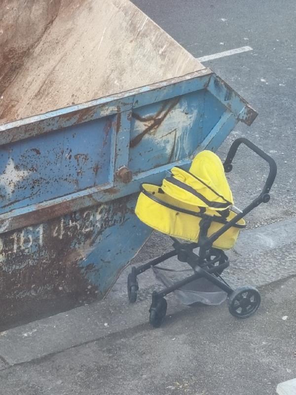 Kids buggy dumped outside skip outside 362 monega road-362 Monega Road, Manor Park, E12 6TY