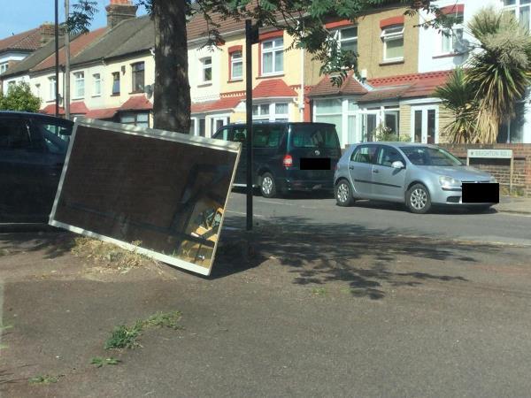 Large mirror outside 40a Folkestone rd junction Brighton rd-89 Folkestone Road, London, E6 6AZ