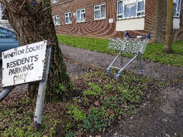 Abandoned Tesco trolley on Alexandra Road, outside Windsor Court-Windsor Court, Queen Elizabeth Dr, Aldershot GU11 1QE, UK
