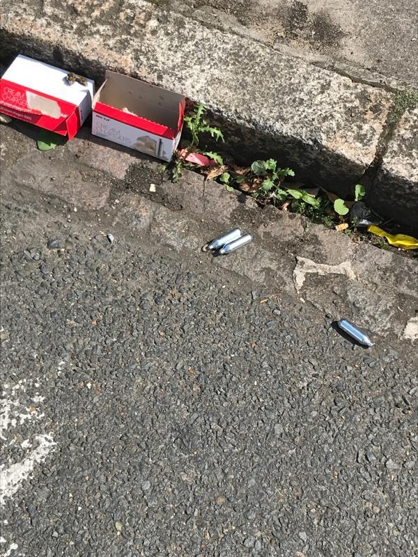 Drug related litter  -66 Louise Rd, London E15 4NW, UK