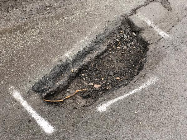 Very large pothole problem! Is extremely damaging for cars as tyre can fit inside. Needs to be fixed ASAP -Pipers Lane, Balls Cross, GU28 9JU