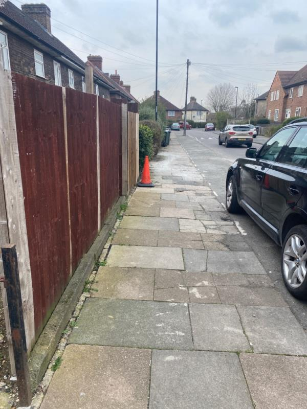 Pedestrian path very damaged Dangerous slabs-210 Firhill Road, Bellingham, SE6 3LL