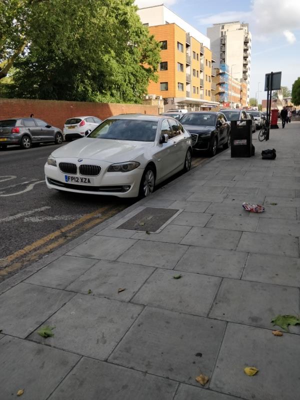 Car parked on double yellow lines beside 91-97 Leytonstone Road E15-89b Leytonstone Road, London, E15 1JA