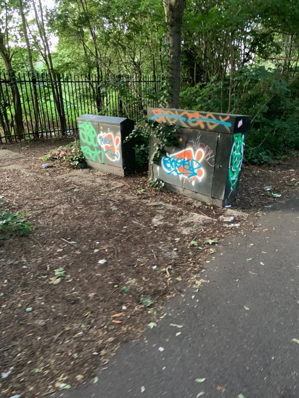 Graffiti on the pedestrian path from Beckton park to Beckton globe behind school-28 Guildford Road, London, E6 5QS