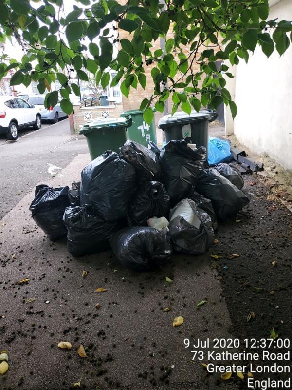 black bags x9 -73a Katherine Road, East Ham, E6 1EW