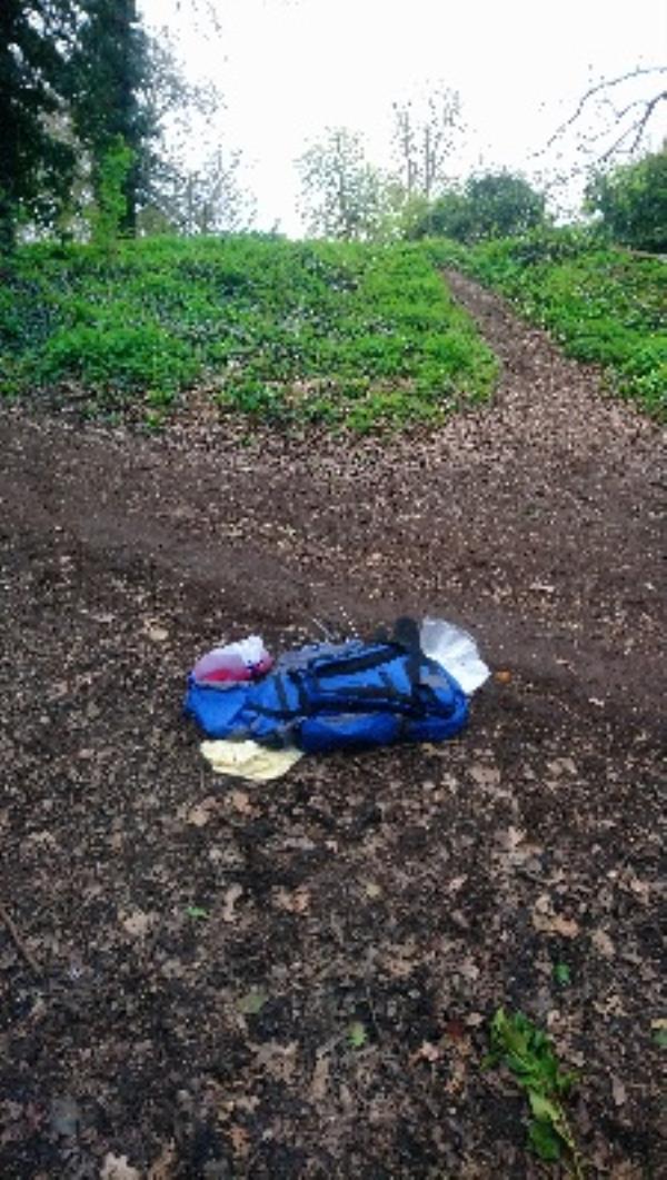 Dumped racksack on woodland path just north of Mansion House car park -362 Tilehurst Road, Reading, RG30 2NG