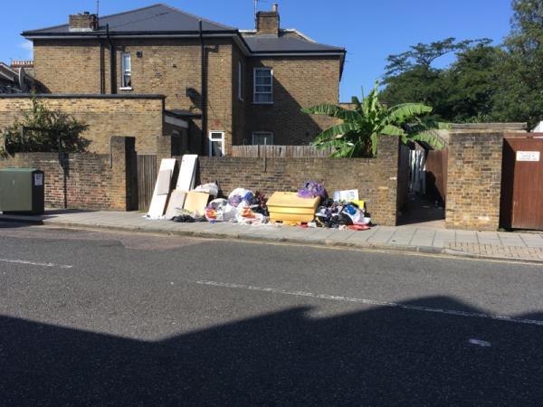 Rubbish dumped corner Alexandra Road / Turnpike Lane N8-Felicity Court 205-207 High Road, London, N22 8HH