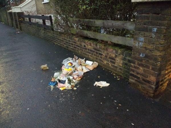pile of stinking household refuse on pavement-78c Earlham Grove, London, E7 9AR