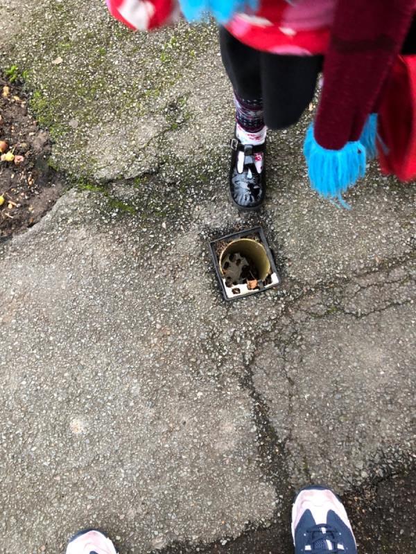 Missing lid on drainage hole-62 Latimer Road, London, E7 0LN
