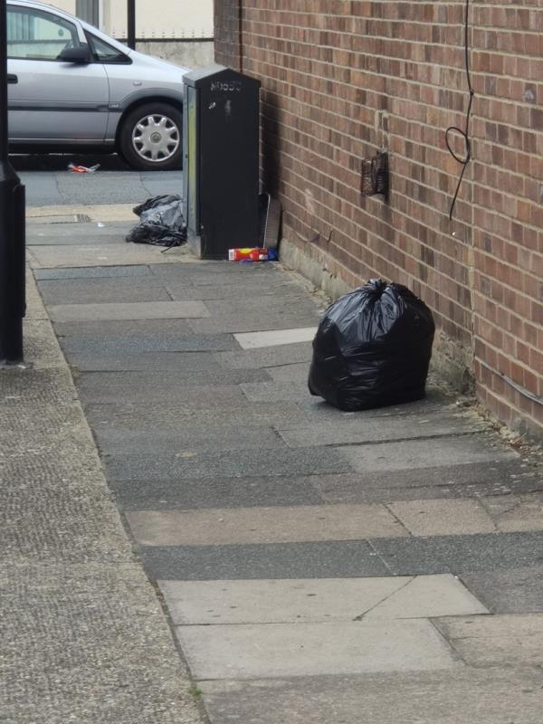 Some bags of rubbish has been fly tipped -23 Westbury Road, Upton Park, E7 8BU