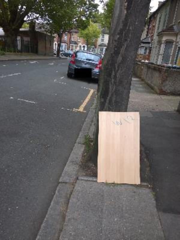 wooden sheet next to 32-29 Bull Road, London, E15 3HQ
