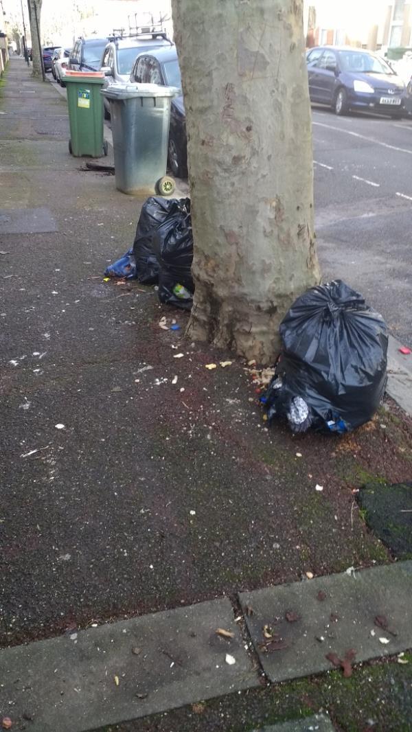 3 bags household waste outside 86 Lichfield road -65 Lichfield Road, London, E6 3LQ