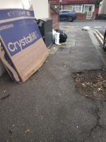 broken chair, TV cardboard, bags and black bags image 1-69 Stokes Road, East Ham, E6 3SF
