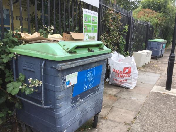 Large commercial sand bag totally full with waste, situated on Millais avenue by the recycling banks-2 Leighton Avenue, London, E12 6JL