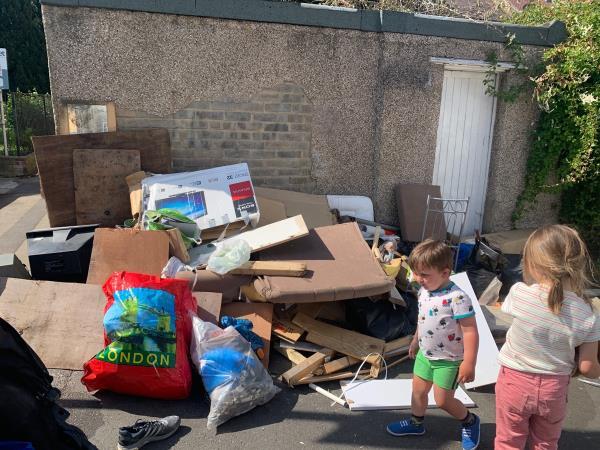 Massive pile of dangerous rubbish-49 Cruikshank Road, London, E15 1SR