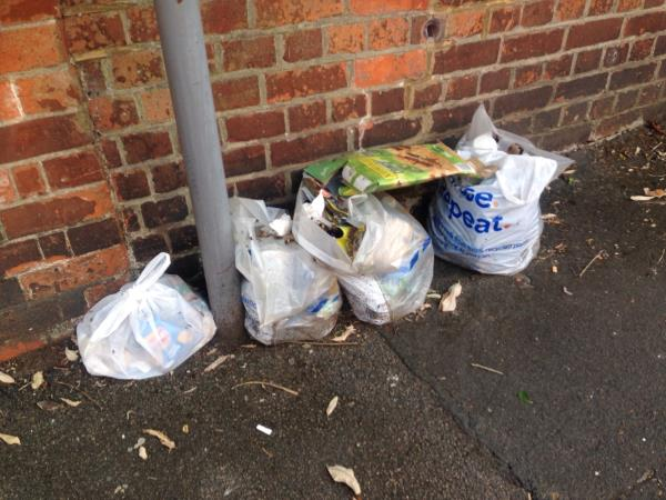 Bags of rubbish at corner of Waldeck st/Southampton st, south side-35 Waldeck Street, Reading, RG1 2RF