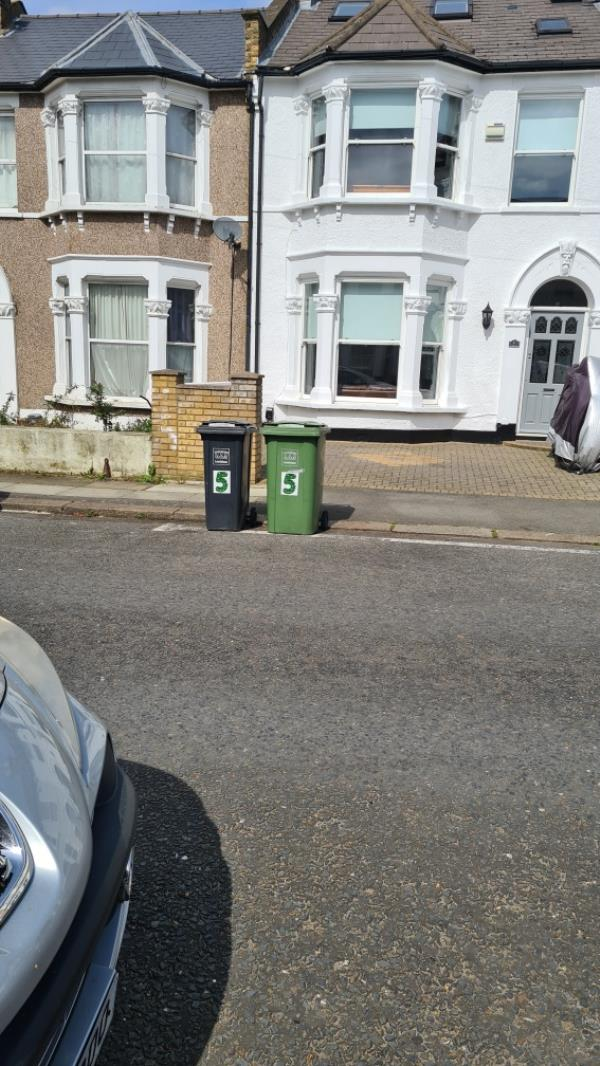 Bins blocking road-5 Fordel Road, London, SE6 1XS
