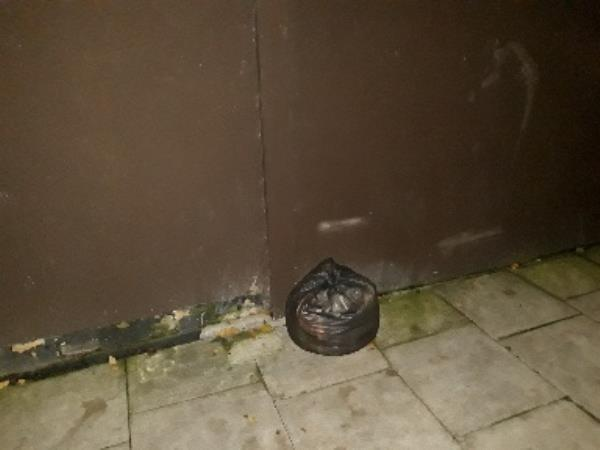 Black bag of waste dumped on Field Rd at side of 87 Kitchener Rd-88 Gloucester Road, London, N17 6DH