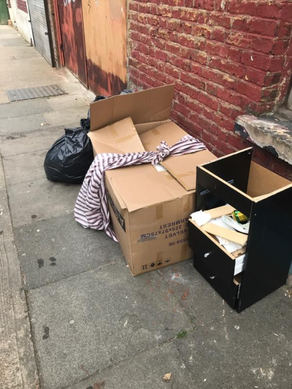 Box, cabinet, black bags -1 Walpole Road, East Ham, E6 1AR