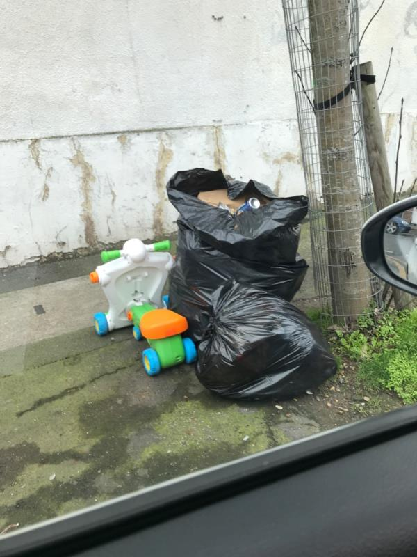 Black bags domestic rubbish -77 Bedford Road, East Ham, E6 2NN