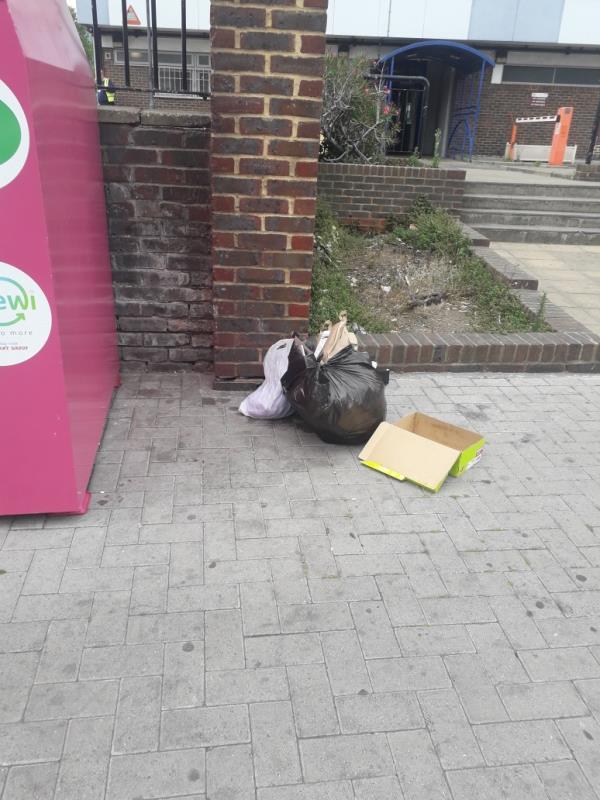 5 black bags 1 washing basket-Henniker Point Leytonstone Road, London, E15 1JY