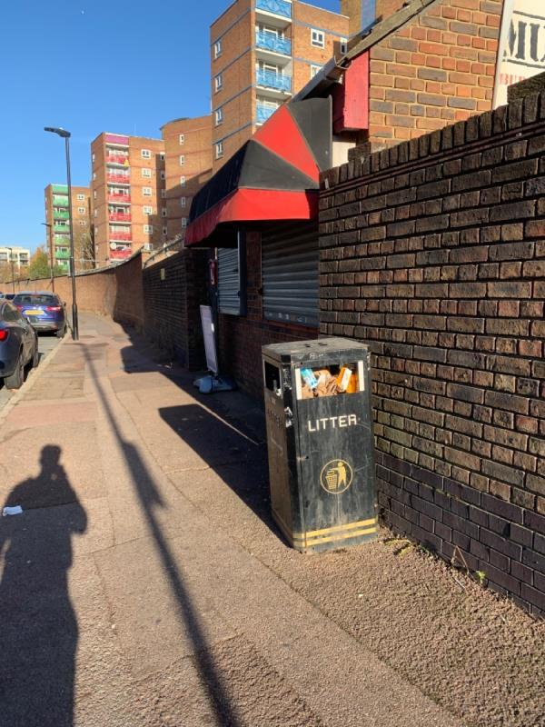 Litter bin is full-Kiosk Priory Road, East Ham, E6 1QB