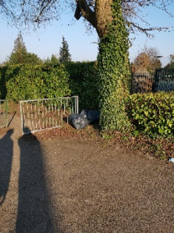 4 black bags fly tipped. top of manor walk, next to serco-104 Church Ln E, Aldershot GU11 3HN, UK