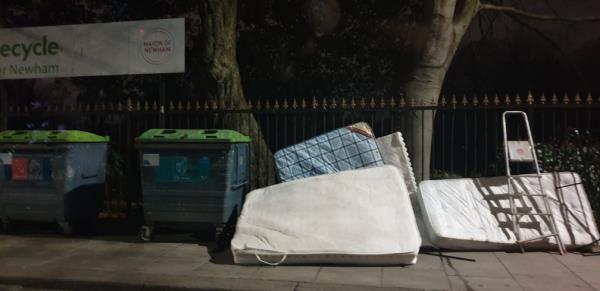 Beds and mattresses dumped -284 Plashet Grove, East Ham, London E6 1DQ, UK