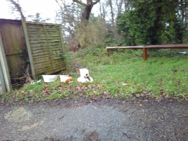 fly tipping waste ground rear of No's 57 - 73 Elvaston Way sanitary ware-71 Elvaston Way, Reading, RG30 4LX