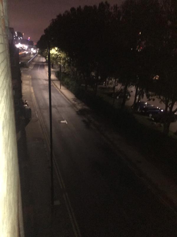 Street light not working -189 Albert Road, North Woolwich, E16 2JS
