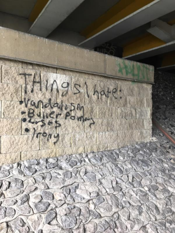 Graffiti under bridge on non network rail unit-23 Forbury Rd, Reading RG1 3YL, UK