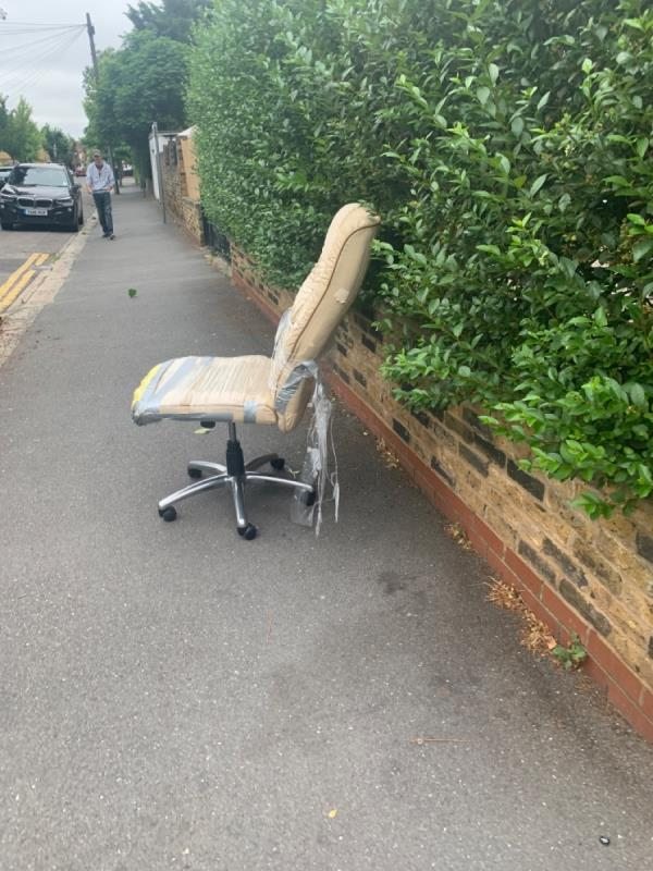 Dumped office chair-Virgin Media Cabinet Walt Ag0304 Outside 19 Clarence Road, Manor Park, E12 5BB
