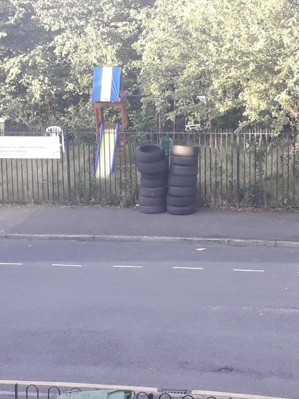 14 tyres dumped overnight opposite my house at 35 first avenue-35 First Avenue, Plaistow, E13 8AP