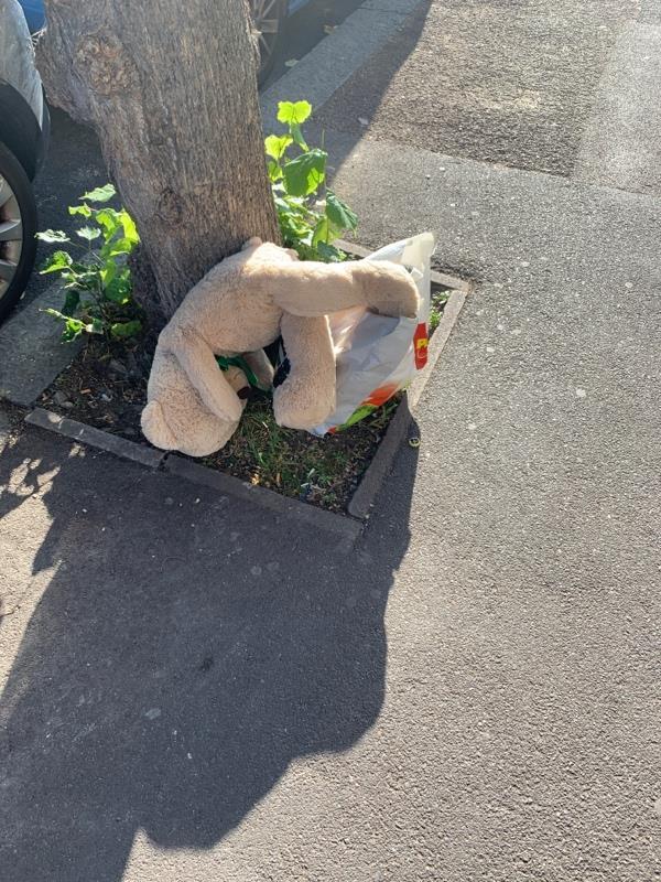 Items left by a tree outside 15 Kensington Avenue -18 Kensington Ave, East Ham, London E12 6NW, UK
