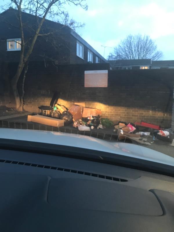 Large flytip of household rubbish -36 Rawstone Walk, Plaistow, E13 0HZ