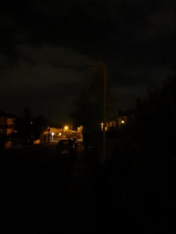 Broken light outside 109 Moreton road-106 Moreton Road, Wolverhampton, WV10 8LB